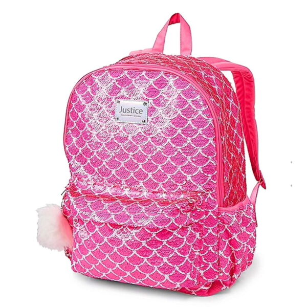Justice backpack school mermaid fuscia