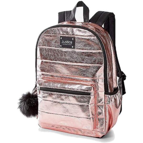 Justice, school backpack rose gold metallic