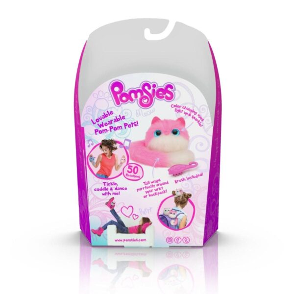 Pomsies Pinky Pet - Pink and White Interactive Plush