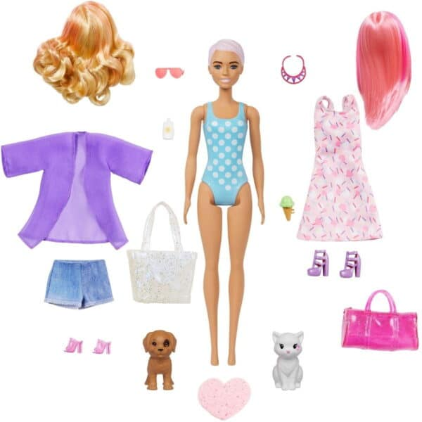 Barbie Day-to-Night Color Reveal Doll With 25 Surprises & Transformation Beach to Party