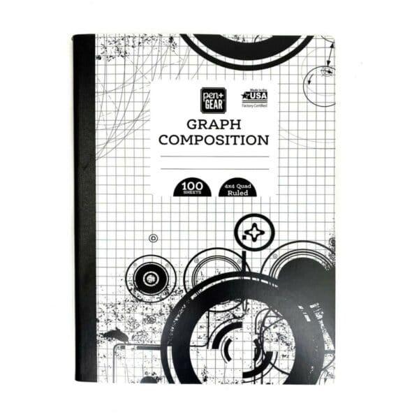 2 Pcs.Pen+Gear Graph Composition Notebook,100 Sheets, 4x4 Quad Ruled