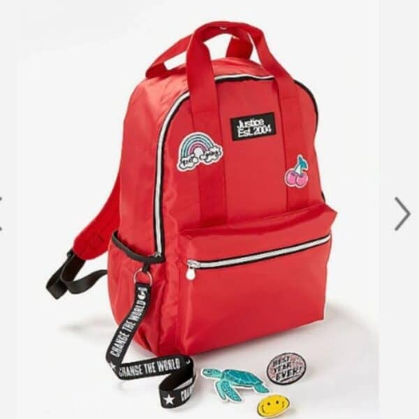 justice red patch backpack