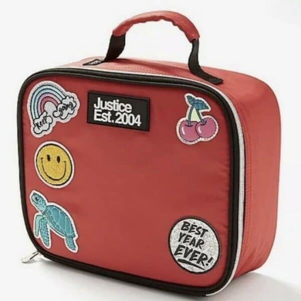 justice lunch box red patch