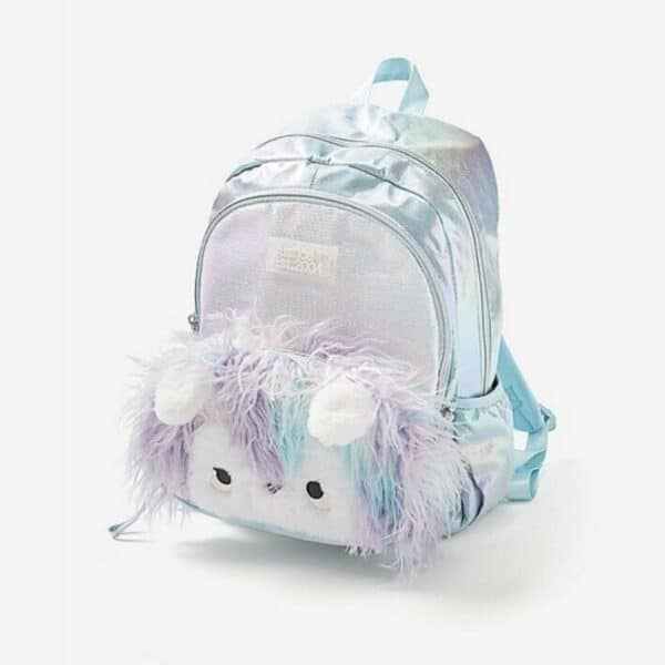 """Girls Pastel Faux Fur Llama 16"""" Backpack Bag New Collection"""