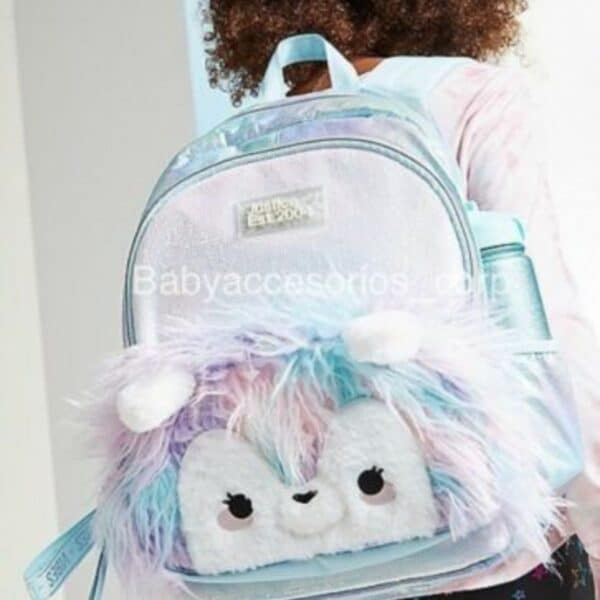 "Justice Girls Pastel Faux Fur Llama 16"" Backpack"