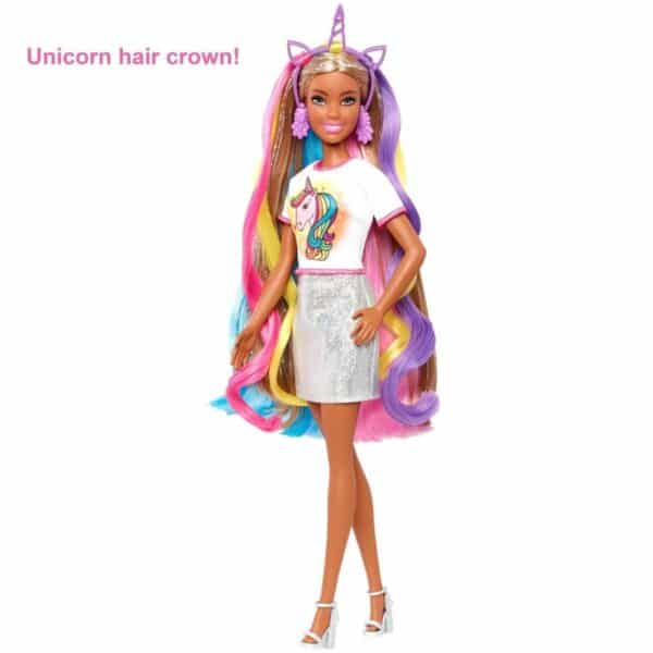 Barbie Fantasy Hair Doll, Brunette, with 2 Decorated Crowns and Accessories
