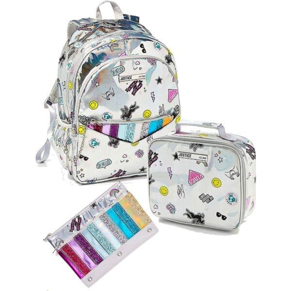 ustice Girls Back to School Bundle, Holo Sticker Pocket Backpack & Wristlet, Lunch Tote y Pencil Case Metallic